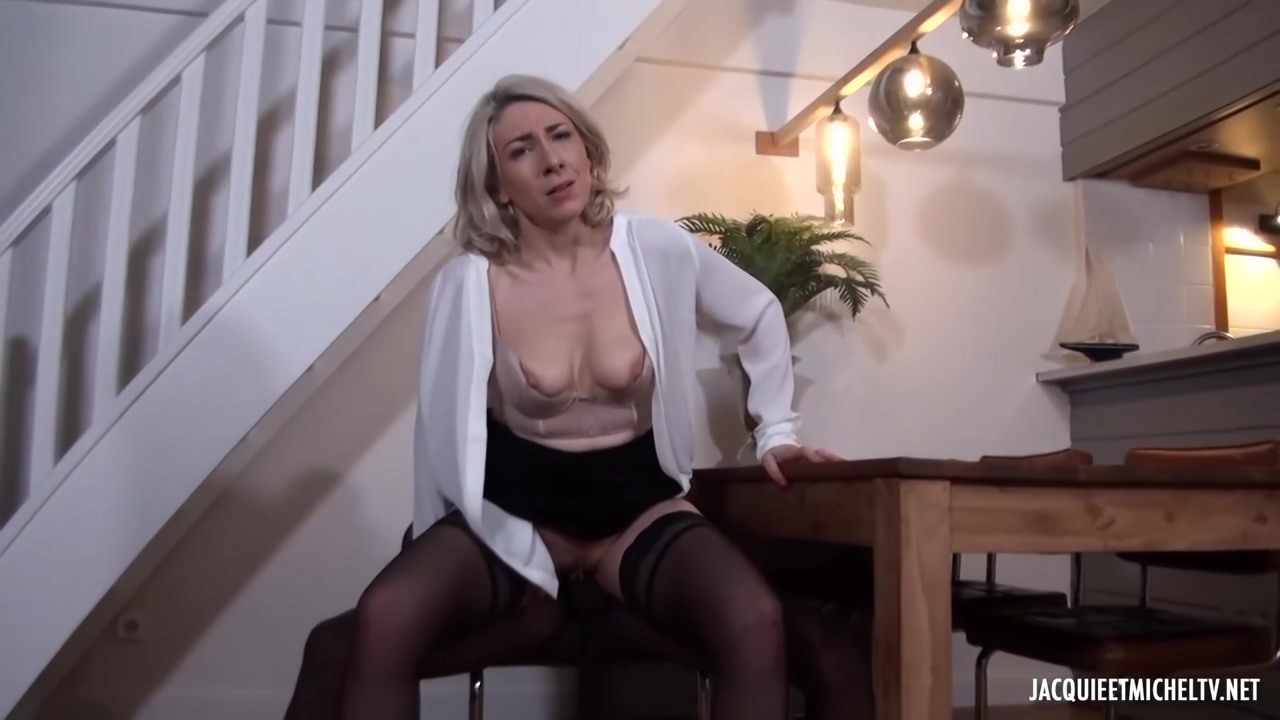 Black Man Is Fucking A Mature, Blonde Woman, Julie Francais, While Her Husband Is Working
