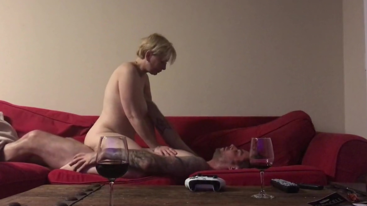 Blonde MILF Riding Cock On Couch After Wine
